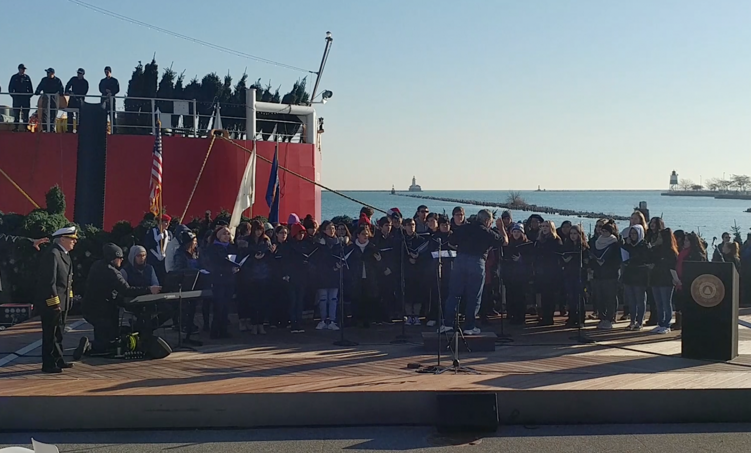 Mr. Lavery directing the Eagle Singers at Navy Pier