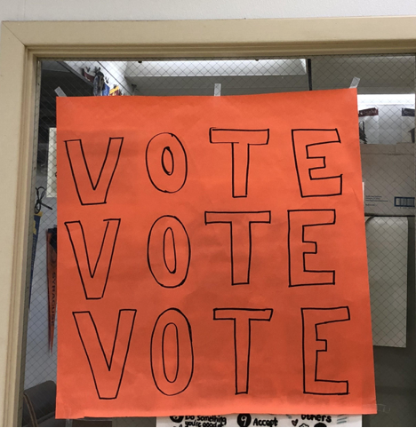 Poster created by students were hung up throughout the school. Issues to Actions Club and Alyssa Niece's civics students outlined the importance of the vite to get students excited to hit the polls.