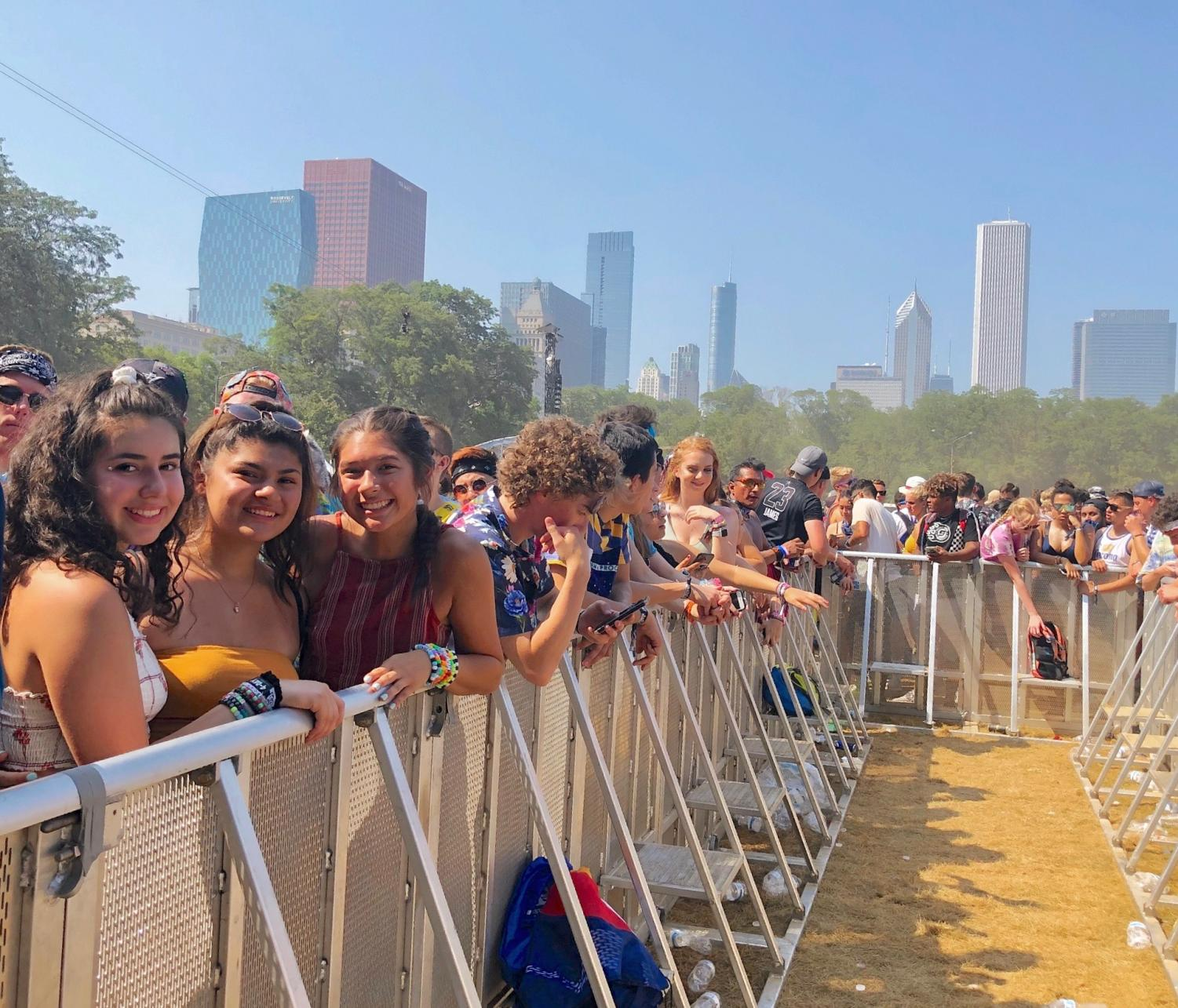 Senior Maya Yee and her friends at the Lollapalooza barricade, last year.