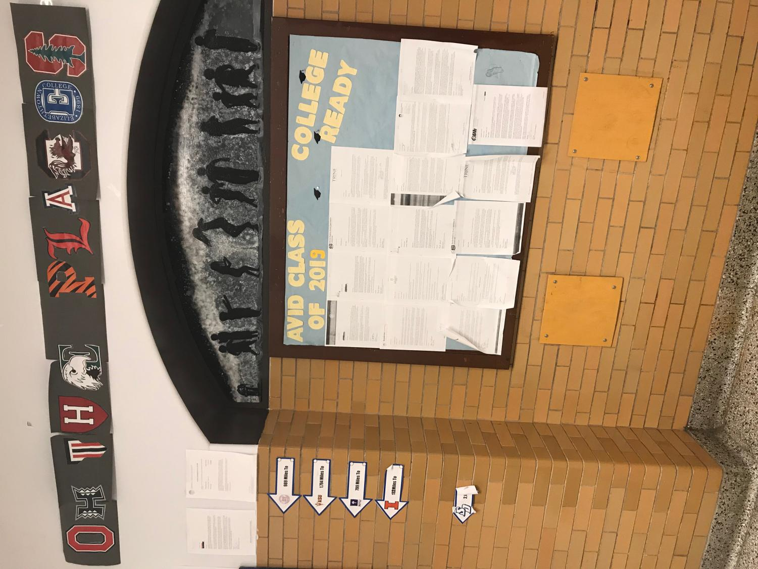 The AVID Program's wall shows what colleges and universities their students have chosen to attend for the next four years.