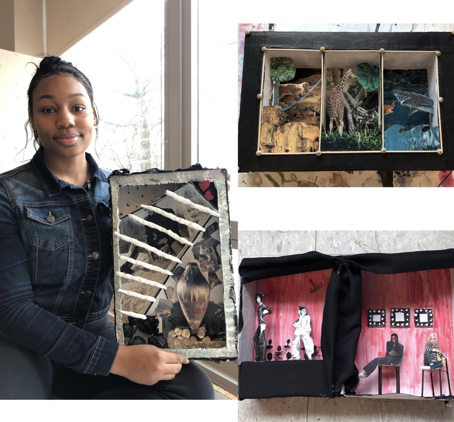 Senior Samiyah Person shows off her shadow box, while Senior Deanna Gorder's box is presented in the top right and Michelle Correa's box is displayed in the bottom right.