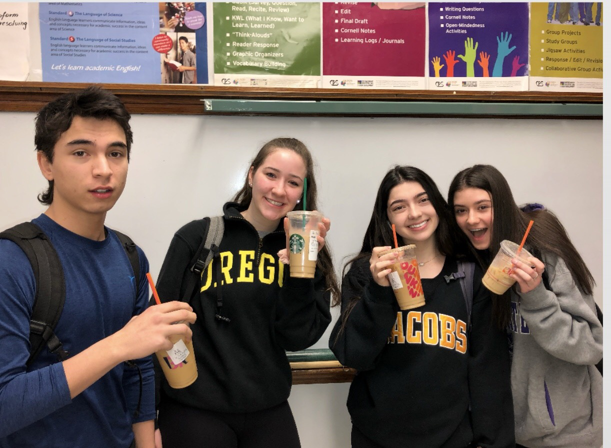Students enjoying a cup of coffee in school during first period to feel energized for the day.  Photo provided by Kate Garnett