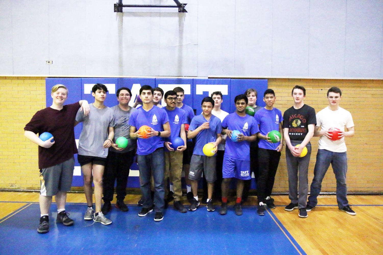 SA stands in victory after winning first place at the Club Dodgeball Tournament.