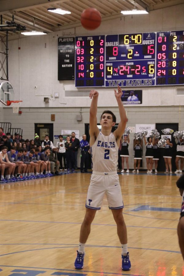 Senior  Matt Lesch makes a free throw shot during the second quarter of the game against Niles West.           Photographer Andres Hernandez.
