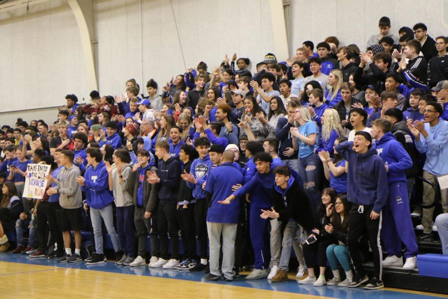 Taft Student body fills the stands at Blue Out Basketball game against Shurz High School.           Photographer Anny Martinez